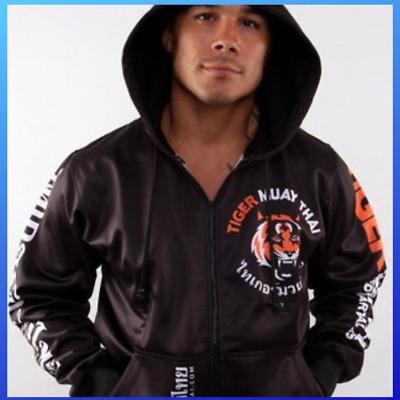 Muay Thai Mma Long Sleeve Hoodie Black Jacket Mens Tiger Gym Tee Kickboxing S B