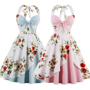 Women-039-s-V-Neck-Halter-Style-1950s-Vintage-Rockabilly-Cocktail-Party-Swing-Dress