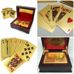 24K GOLD PLATED PLAYING POUNDS CARDS FULL POKER DECK 99.9/% PURE WITH BOX