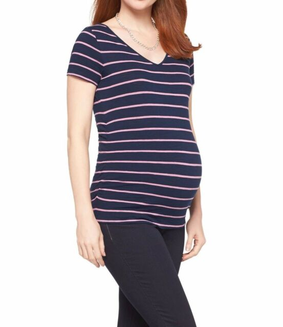 33aa8a97b3064 New-size XS-Liz Lange Maternity Top Navy Pink Striped Ruched Side Cotton T