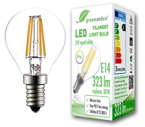 Glühfaden LED Lampe CRI 90 flimmerfrei E14 G45 3W ersetzt 30W 323lm warmweiß