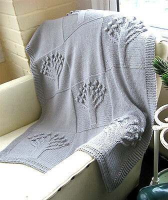 "Apple Tree Pattern Baby Blanket Knitting Pattern DK 24"" x 37"" Ideal Baby Gift !"