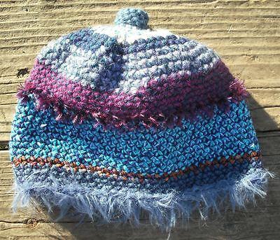 Fun Blue Shades Multicolor Infant Beanie 0-12 Months - Handmade by Michaela