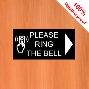 """Please ring Bell Sticker with right pointing arrow 9545 3""""x6"""" Doorbell sign"""