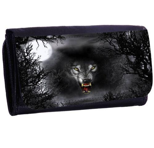 Wolf Bi-fold Zipper Bill /& Card Holder Long Wallet