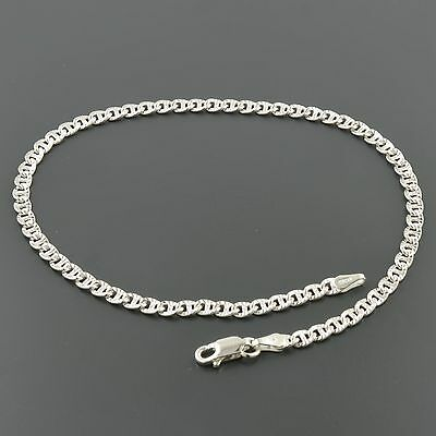 ".925 Sterling Silver 3.4mm Fancy Mariner Link 10"" Anklet Jewelry & Watches"