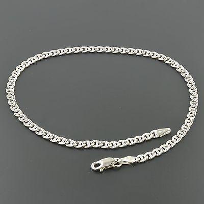 "Fine Jewelry .925 Sterling Silver 3.4mm Fancy Mariner Link 10"" Anklet"