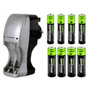 COMPACT-PORTABLE-PLUG-IN-BATTERY-CHARGER-8-AAA-amp-AA-NIMH-RECHARGEABLE-BATTERIES