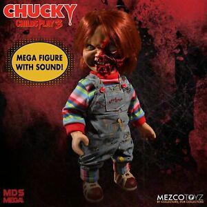 Talking-Pizza-Face-Chucky-38cm-Mega-Puppe-Sound-Childs-Play-15-034-Figur-Mezco