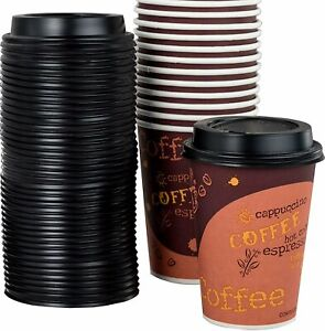 [100-Ct.] 12-Oz. Disposable Paper Coffee Cups & Plastic Dome Lids by Avant Grub