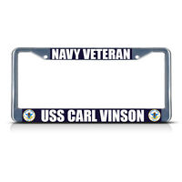 Navy Veteran Uss Carl Vinson Chrome Metal Heavy License Plate Frame Tag Border
