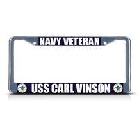 Navy Veteran Uss Carl Vinson Chrome Metal Heavy License Plate Frame Tag Border