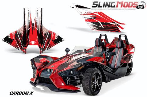 AMR Hood /& Side Panel Graphics Kit for the Polaris Slingshot Carbon-X White//Red