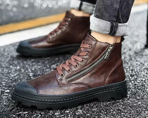 New Fashion Men's Retro Zipper Lace Up Ankle Boots Youth Casual High Top Chukka