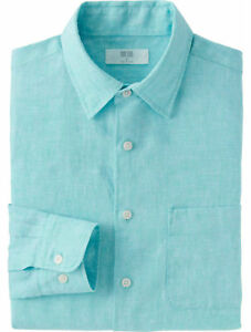 144670f00cc UNIQLO Men s 100% Premium French Linen Long-Sleeve Shirt LARGE ...