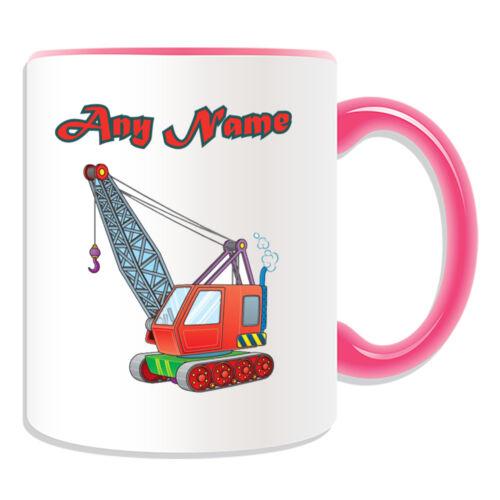 Personalised Gift Crawler Crane Mug Money Box Tracked Worker JCB Cup Tea Coffee