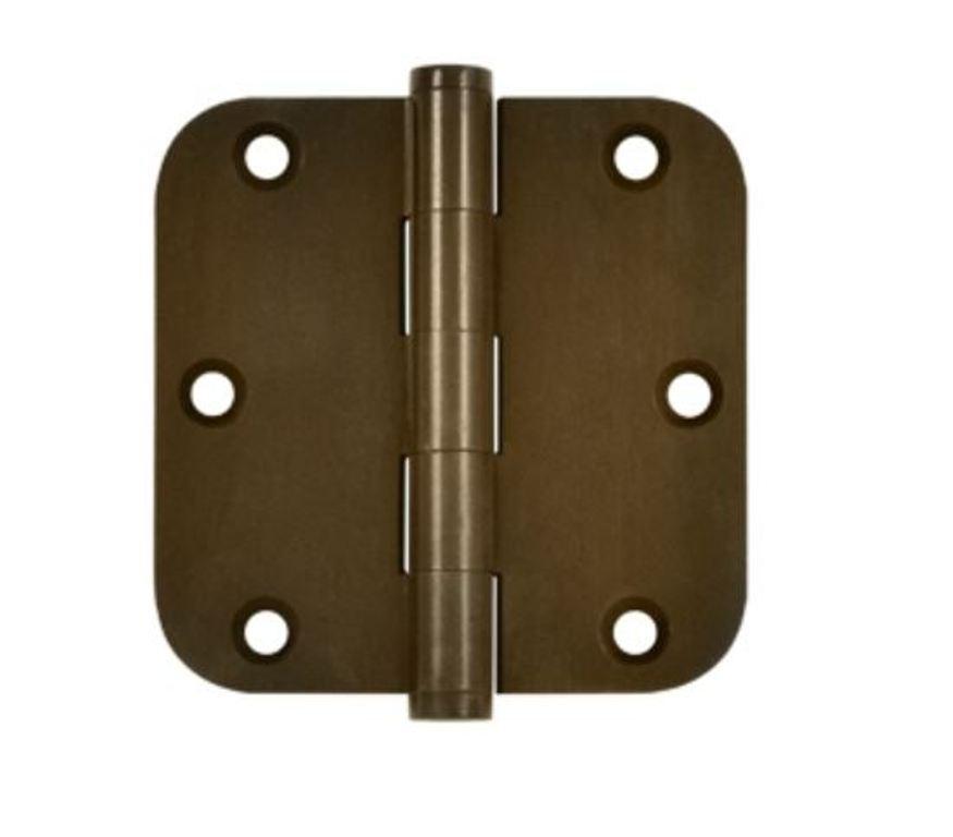 Door Hinge 3-1 2  x 3-1 2  5 8  Radius Corner, Solid Brass, Distressed Finishes
