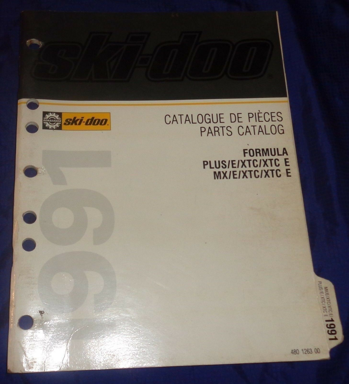 BS676 1991 Ski-Doo Formula PLUS MX E XTC XTC E Parts Catalog 480 1263 00 Manual