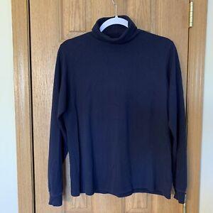 LL-BEAN-Women-039-s-MEDIUM-TALL-Navy-Blue-Turtleneck-Shirt-Interlock-Knit-Cotton