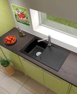 Respekta cucina lavandino mineralite lavello incasso boston 86 x 50 nero ebay - Lavello cucina nero ...