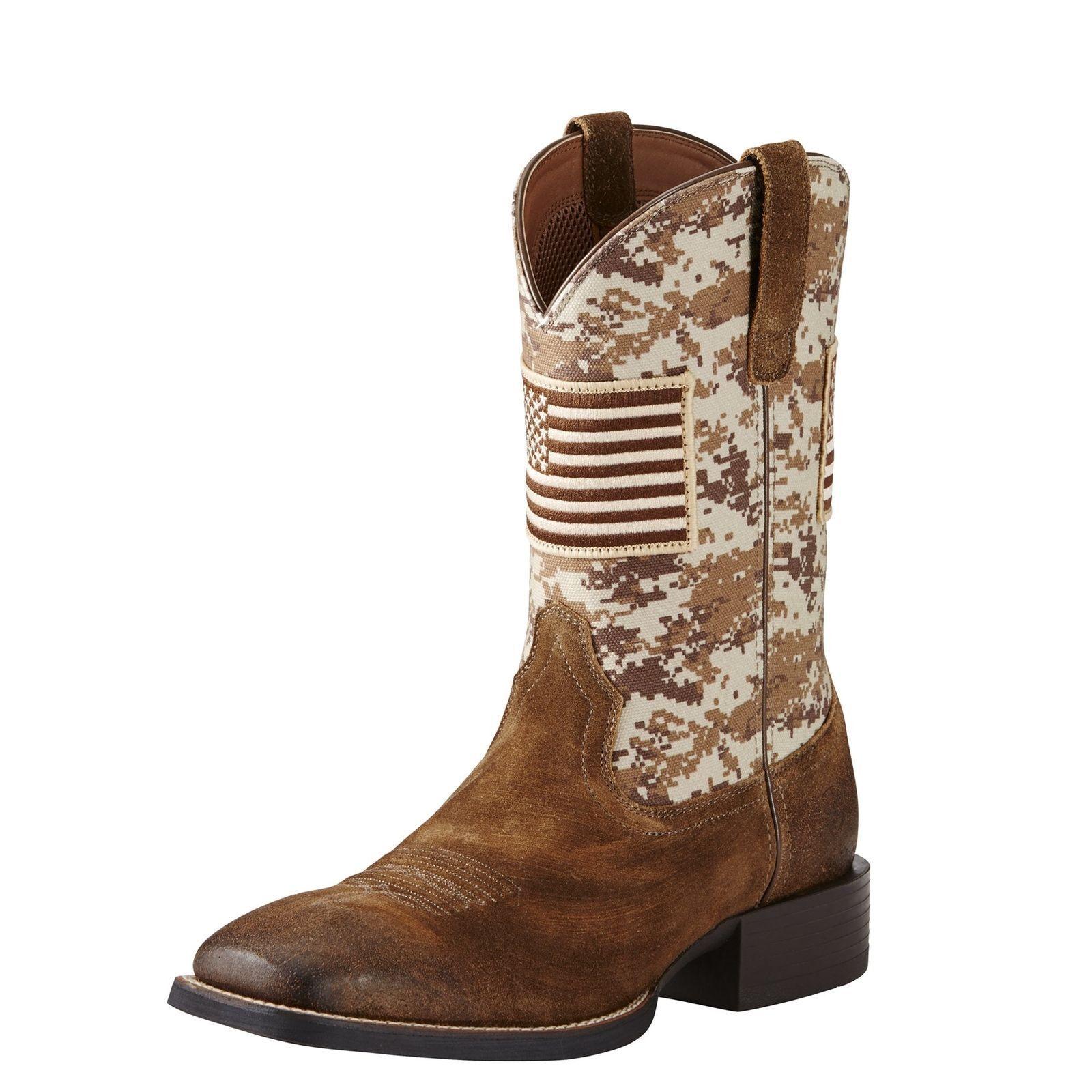 Ariat Men's Brown Camo Sport Patriot Square Toe Boots 10019959