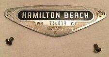 "Vintage Hamilton Beach ""G"" Model Replacement Parts - Model & Serial Number Plate"