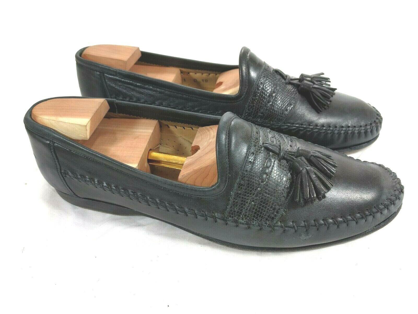 Santoni Black Tassel Loafers Size US 10 D Made in
