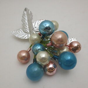 image is loading vintage christmas decoration mercury beads silver tone foil