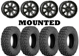 Kit 4 Sedona Coyote Tires 28x10-14 on System 3 ST-4 Gloss Black Wheels VIK