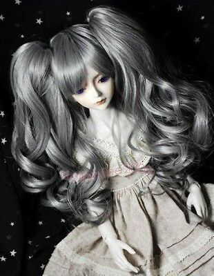 """9-10"""" 1/3 SD BJD wavy hair Super Dollfie Long curly separable wig Gray ponytail"""