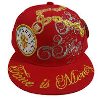 Time Is Money Black Hip Hop (red) Fitted Cap
