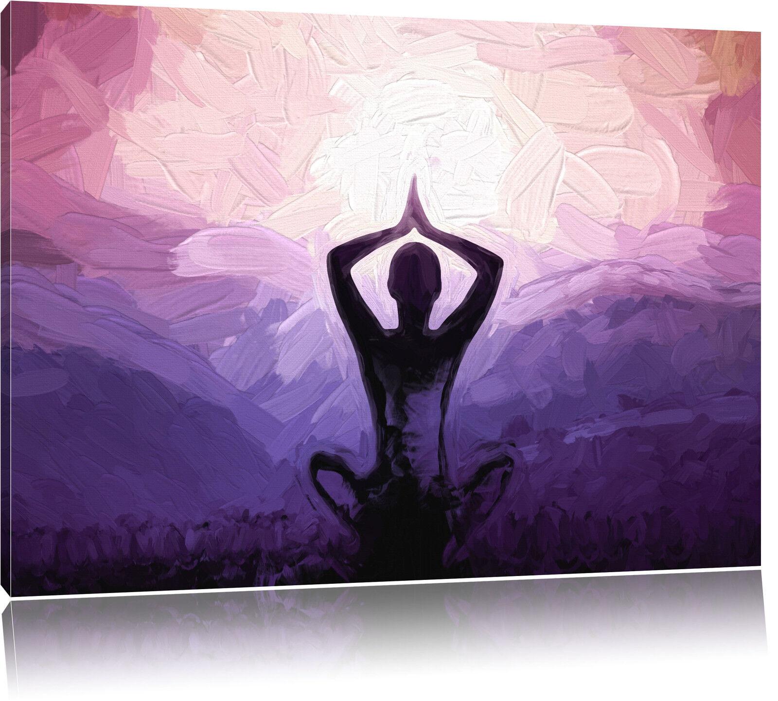 Meditierender Mann in den Bergen Kunst Pinsel Effekt Leinwandbild Wanddeko Kunst