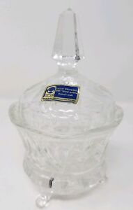 Vintage-Lausitzer-Glass-Lead-Crystal-Candy-Dish-w-Lid-Pinwheel-Design-Footed