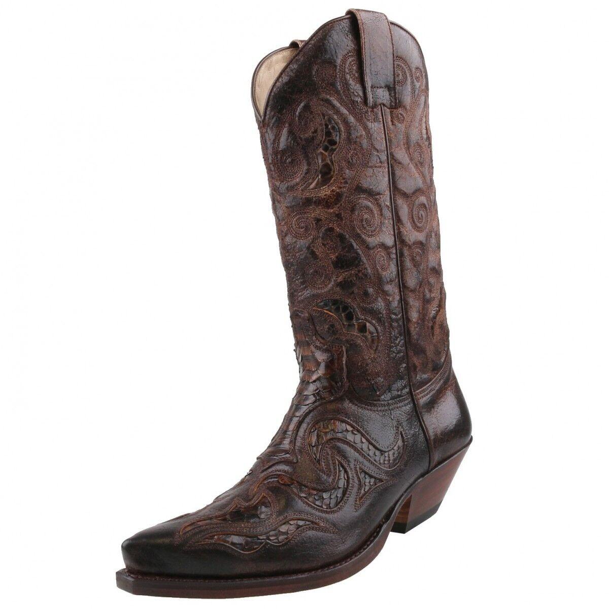 NUOVO Sendra stivali Stivali Cowboy Stivali Python 7428 Marroneee