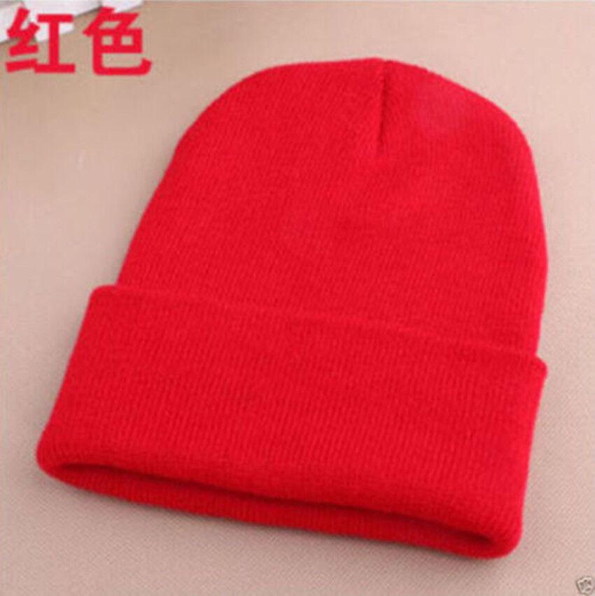 3fcffa05a99 Details about Men s Women Beanie Knit Ski Cap Hip-Hop RED Color Winter Warm  Unisex Wool Hat