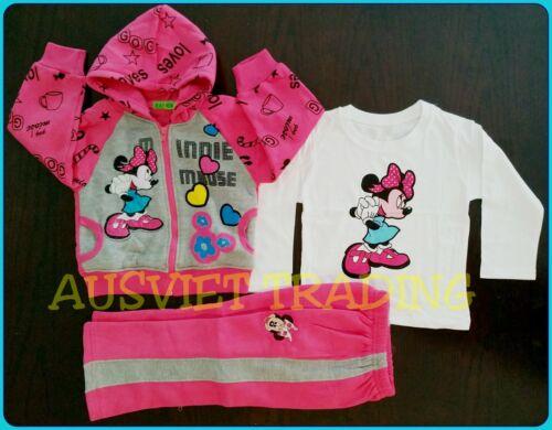 Brandnew Minnie Mouse 3pc TrackSuit Hoodie Jacket top tshirt track pants
