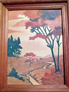 Art-Landscape-Original-Oil-Painting-Framed-9-x-12-1955-Vintage-Signed