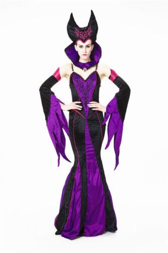 Da Donna Malefica Evil dark queen Costume Di Halloween Fantasia Party Dress ladcos 10