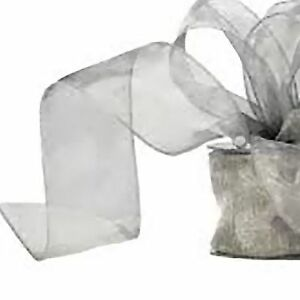 Organza-ribbon-wire-edge-Pewter-Silver-20m-reel-Floristry-Craft-7cm-wide-sheer