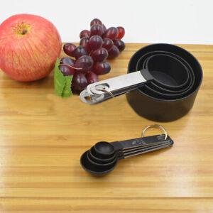 8Pcs//Set negro acero inoxidable de medición tazas y cucharas de cocina para hornear Gadget