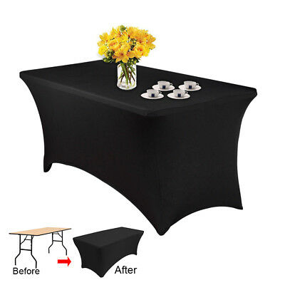 Spandex lycra nappe Stretch rectangulaire table chevalet 4FT mariage SV