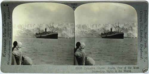 ALASKA From 600//1200 Card Set #1083 Keystone Stereoview Ship /& COLUMBIA GLACIER