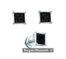 black diamond .06 carat 925 white square stud screwback earrings unisex