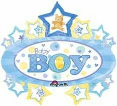 BABY BOY Yellow & Blue Stars Marquee Birth Shower WELCOME BABY Balloon