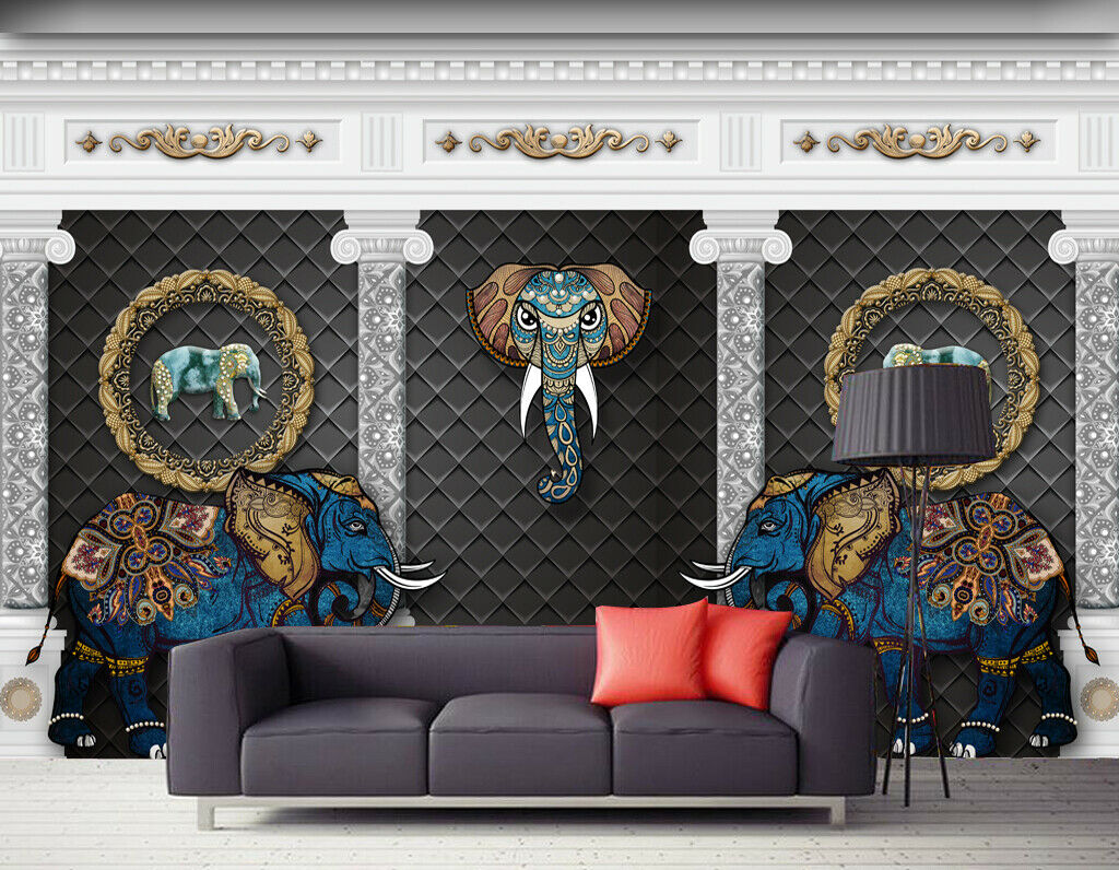3D Hübscher Elefant Q545 Tapete Wandbild Selbstklebend Abnehmbare Aufkleber Su