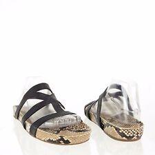 Via Spiga Londa Women's Shoes Black Snakeskin Print Leather Slides Sz 9.5 M NEW!