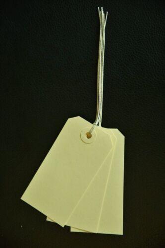 25 Cream Enfilées Luggage Tags 96 mm x 48 mm Cravate Cadeau Parcel Labels