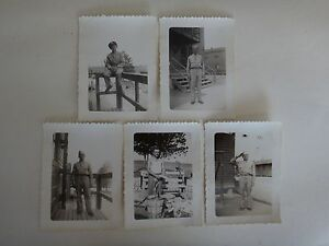 Lot Of 5 WWII Black-and-White Photos of US Soldiers Vintage