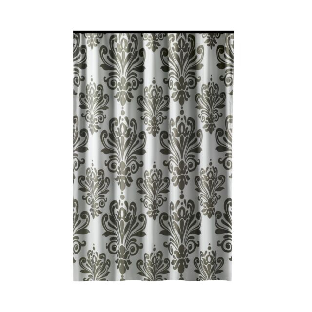 Extra Long Shower Curtain 72 X 78 Inch GAMMA Gray And White Baroque Fabric