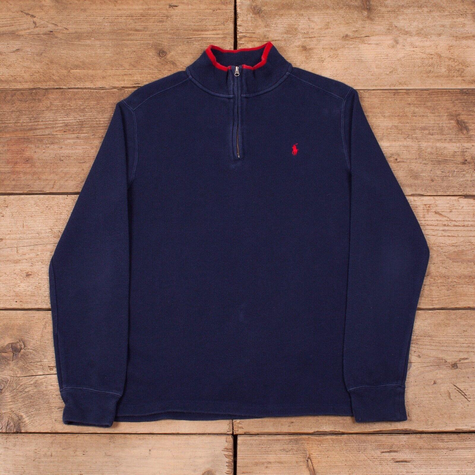 Womens Vintage Polo Ralph Lauren bluee Half Zip Jumper Sweatshirt Large 14 R11692